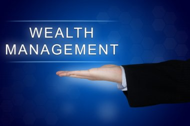 wealth management button on blue background