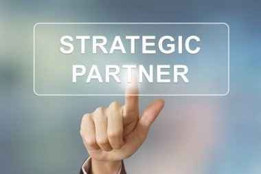 Business hand clicking strategic partner button