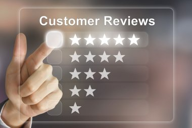 business hand pushing customer reviews on virtual screen