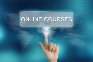 hand clicking on online courses button