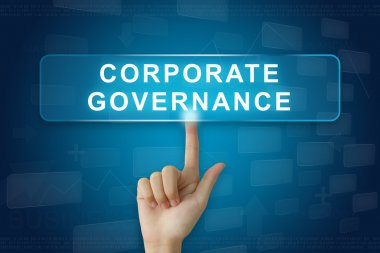 hand press on corporate governance or CG button on touch screen