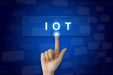 hand press on IOT or internet of things button on touch screen