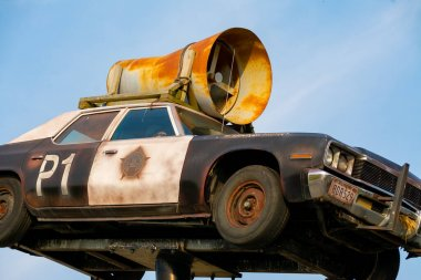 Joliet, Illinois / United States - September 23rd, 2020:  The Blues Brother's replica car on Historic Route 66.