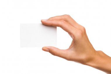 Woman's Hand Holds White Card