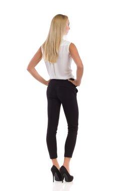 Elegant Blond Woman Rear View