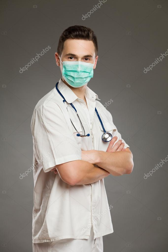 Male doctor in surgical mask