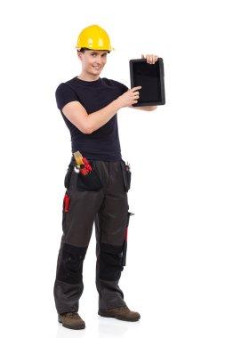 Mechanic showing a digital tablet