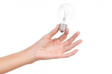 Light bulb in woman's hand
