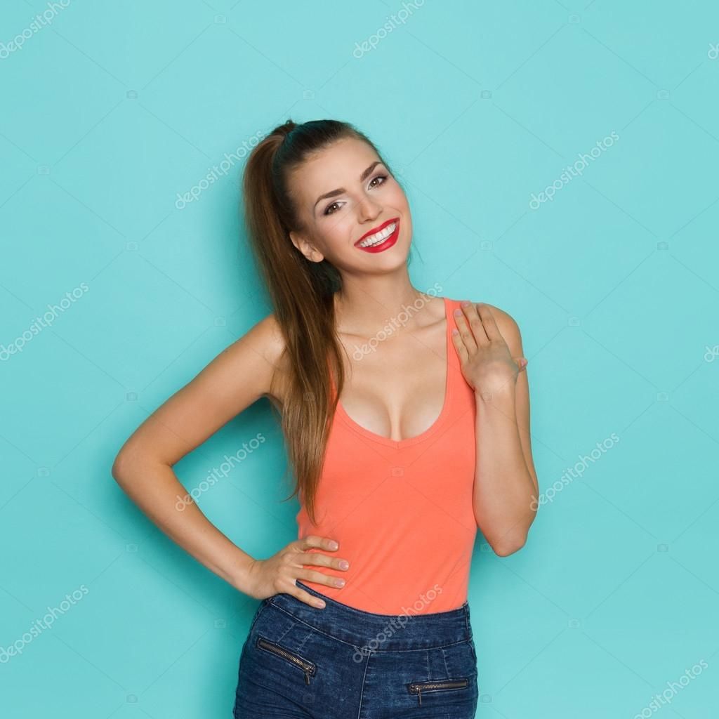 Cute Sexy Girl Smiling Stock Photo