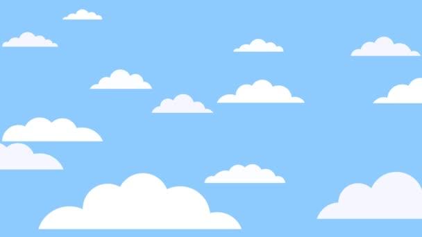 animace 2d mraky létají po obloze