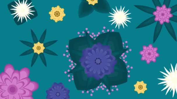 animace plochých květin na zeleném pozadí. 3840x2160