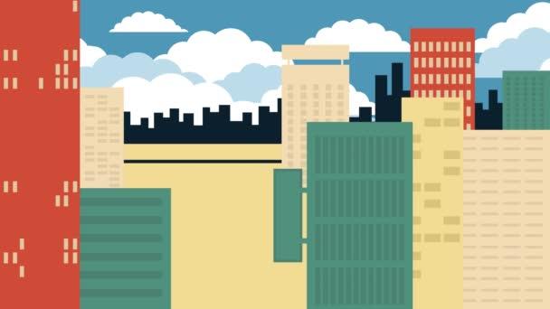 Looping Animation Stadt Hintergrund mit Zug.