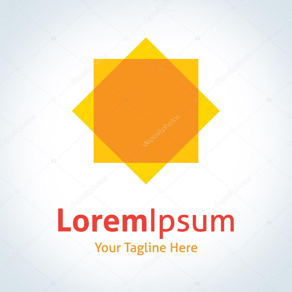 Abstract geometric shape yellow Sun vector logo icon