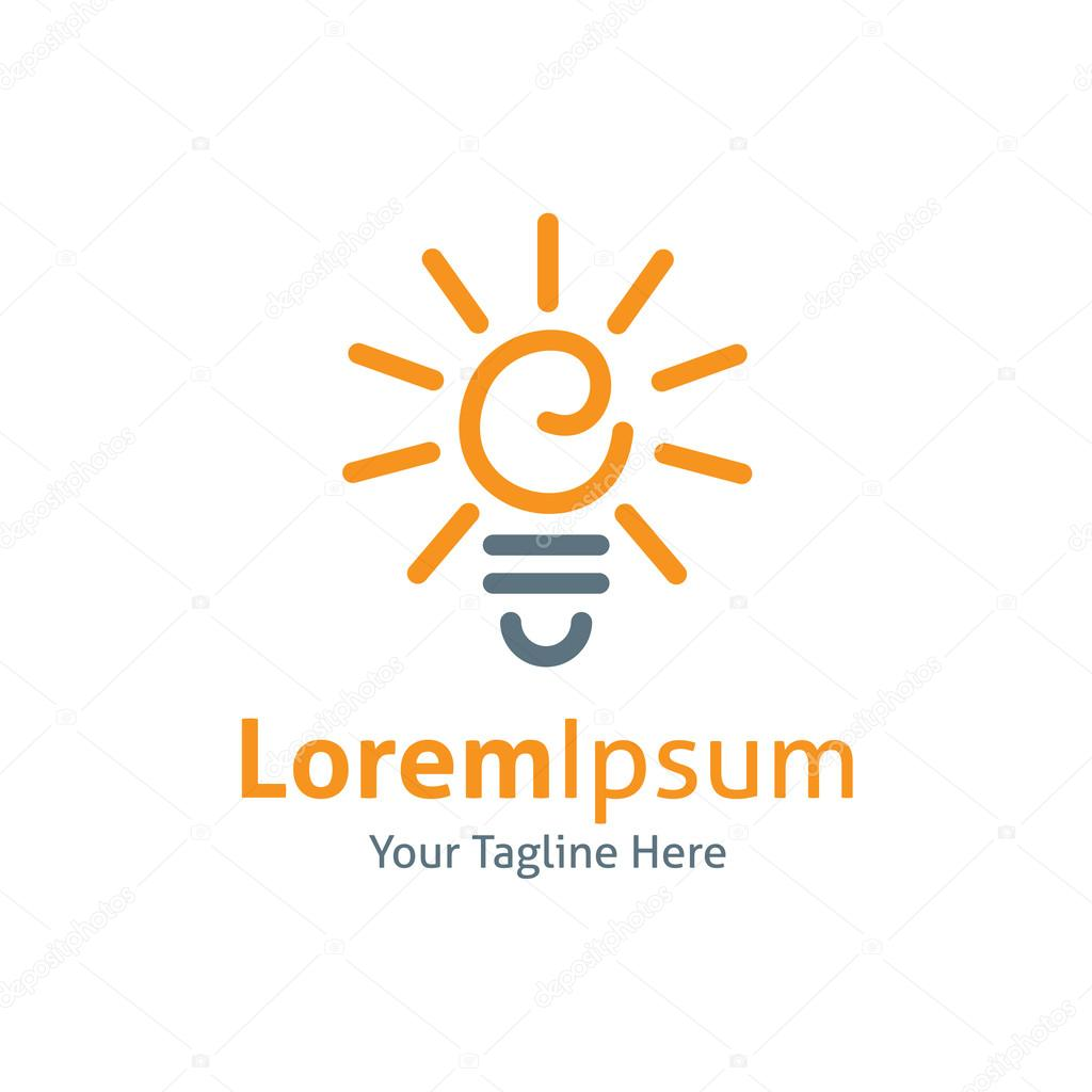 Light bulb idea shinning vector logo icon