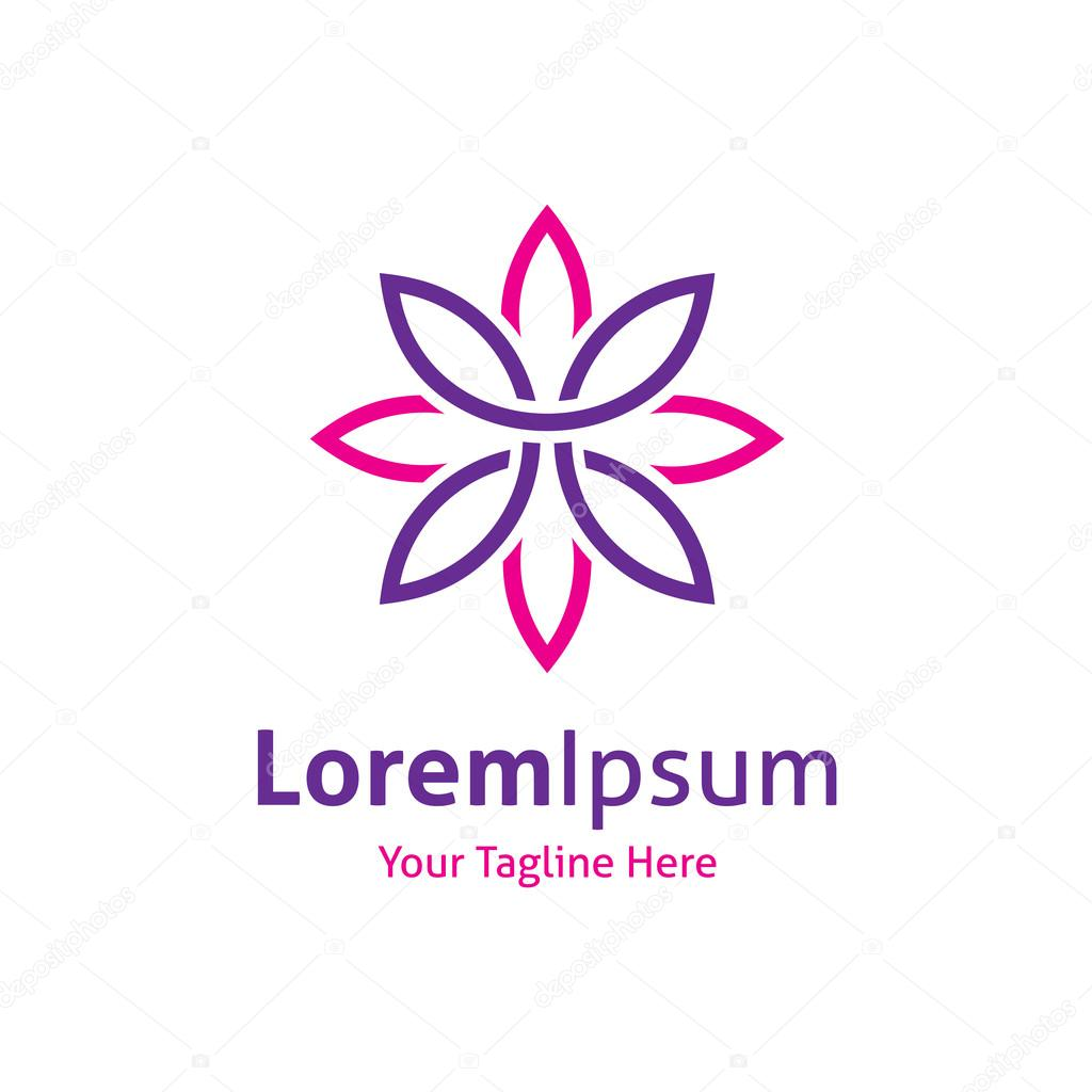 Beautiful flower line decoration vector logo icon