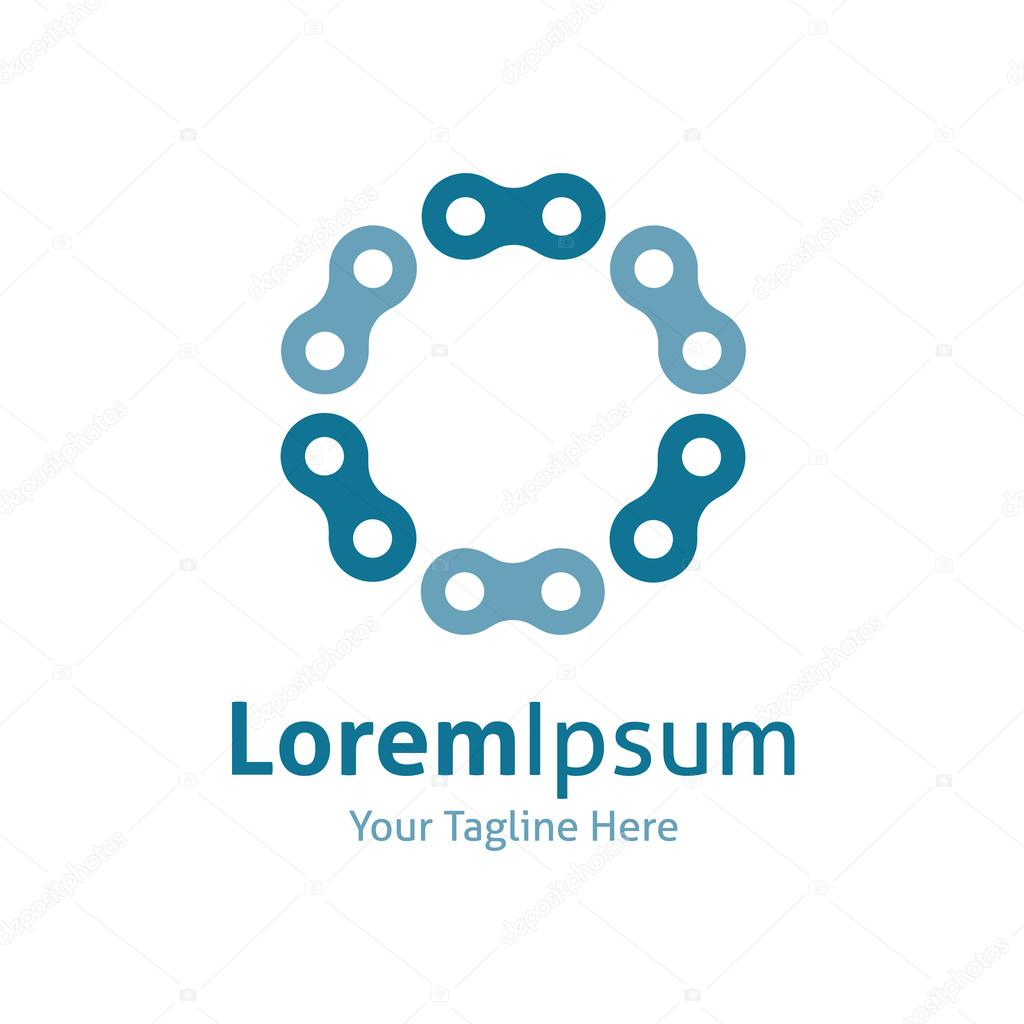 Chain strength circle industrial vector logo icon