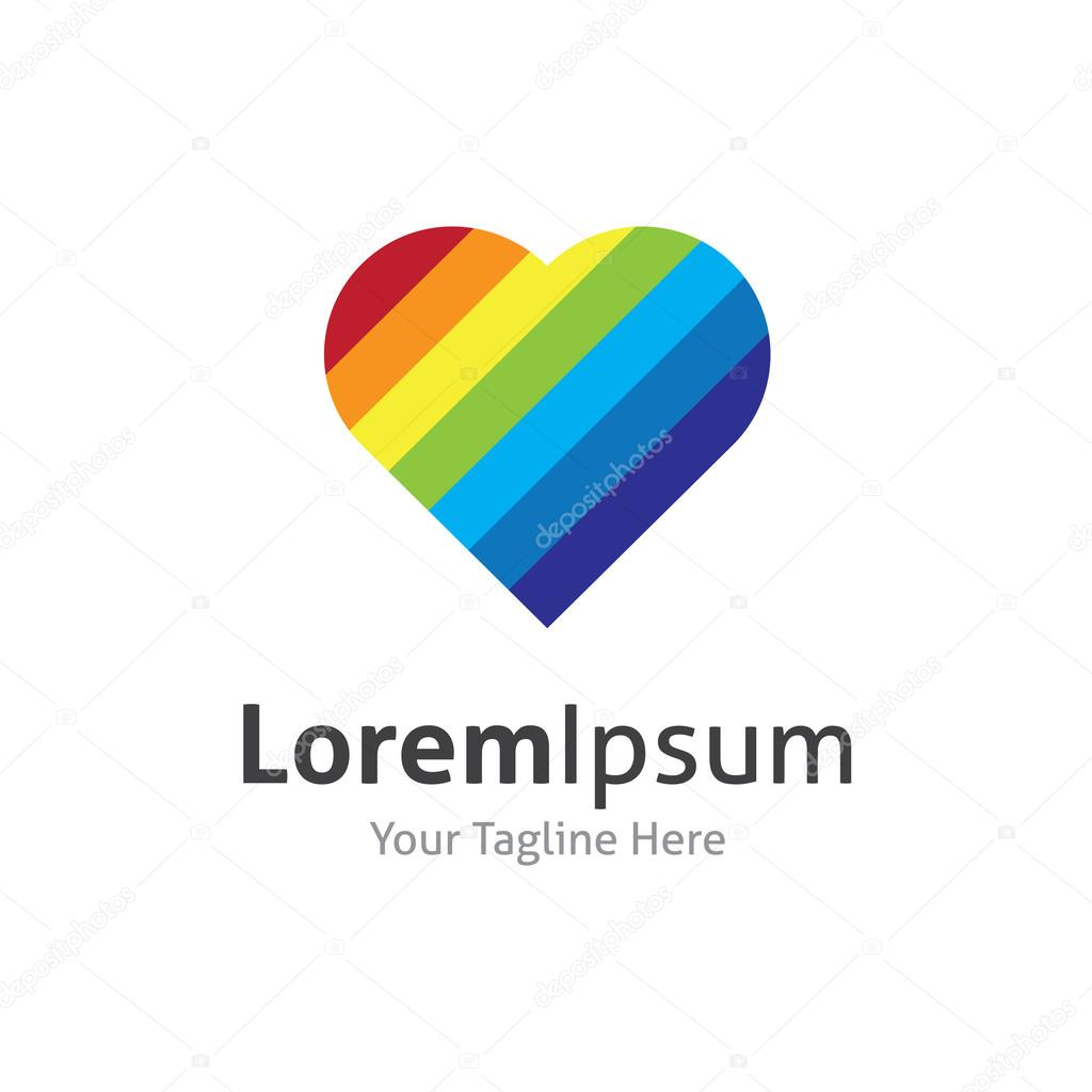Rainbow heart shape love vector logo icon