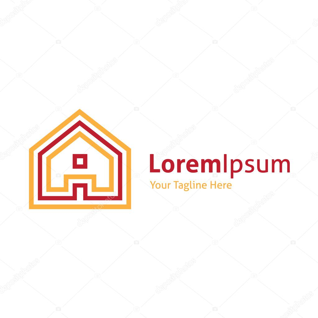 House projection real estate vector logo icon