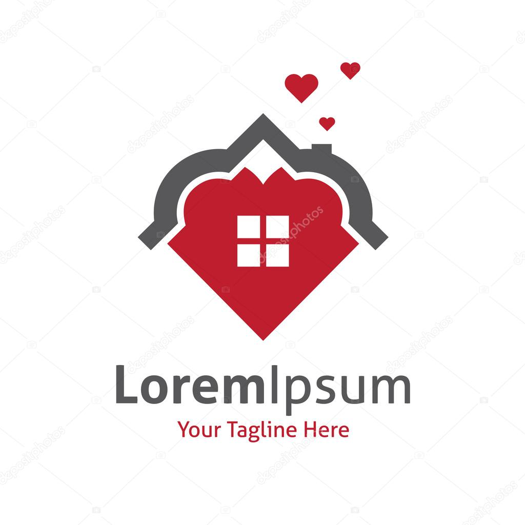 House of beautuful love family red home vector logo icon