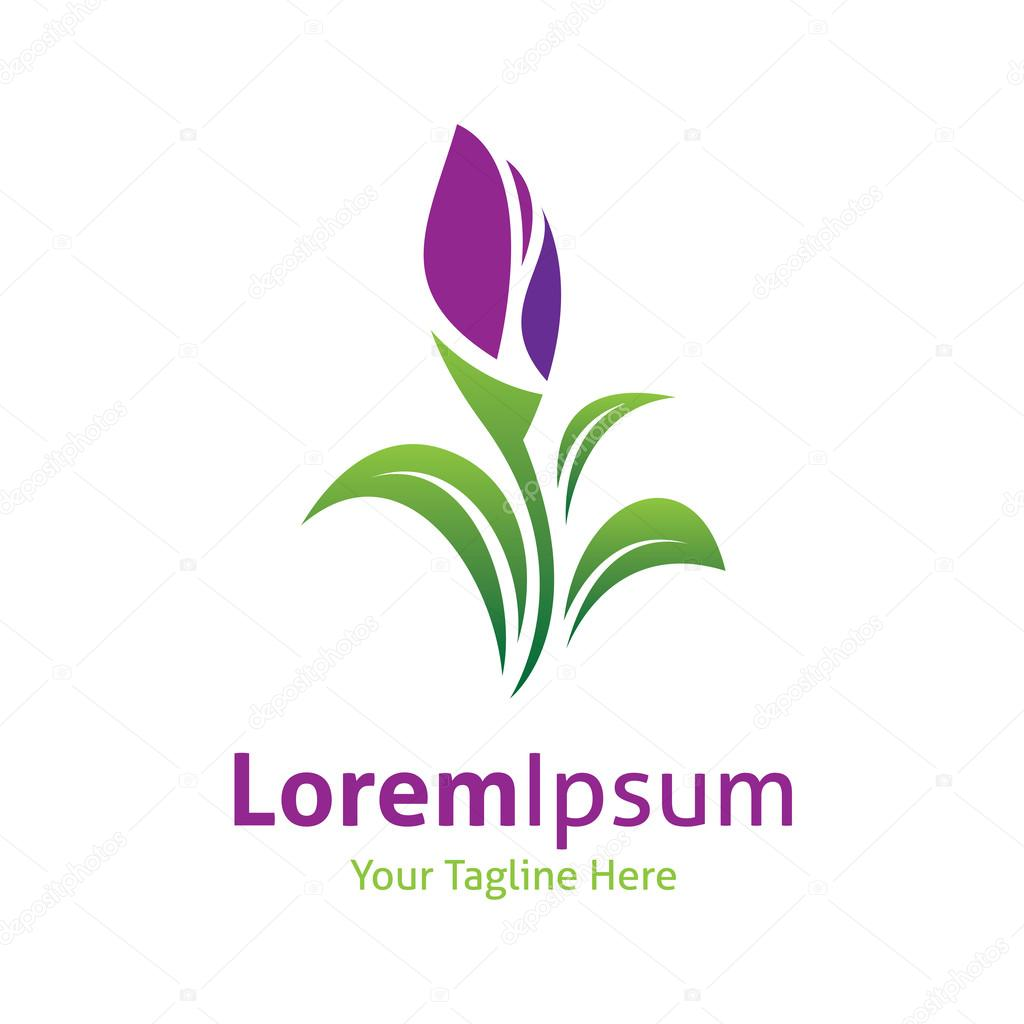 Beautiful purple lily flower green nature vector logo icon