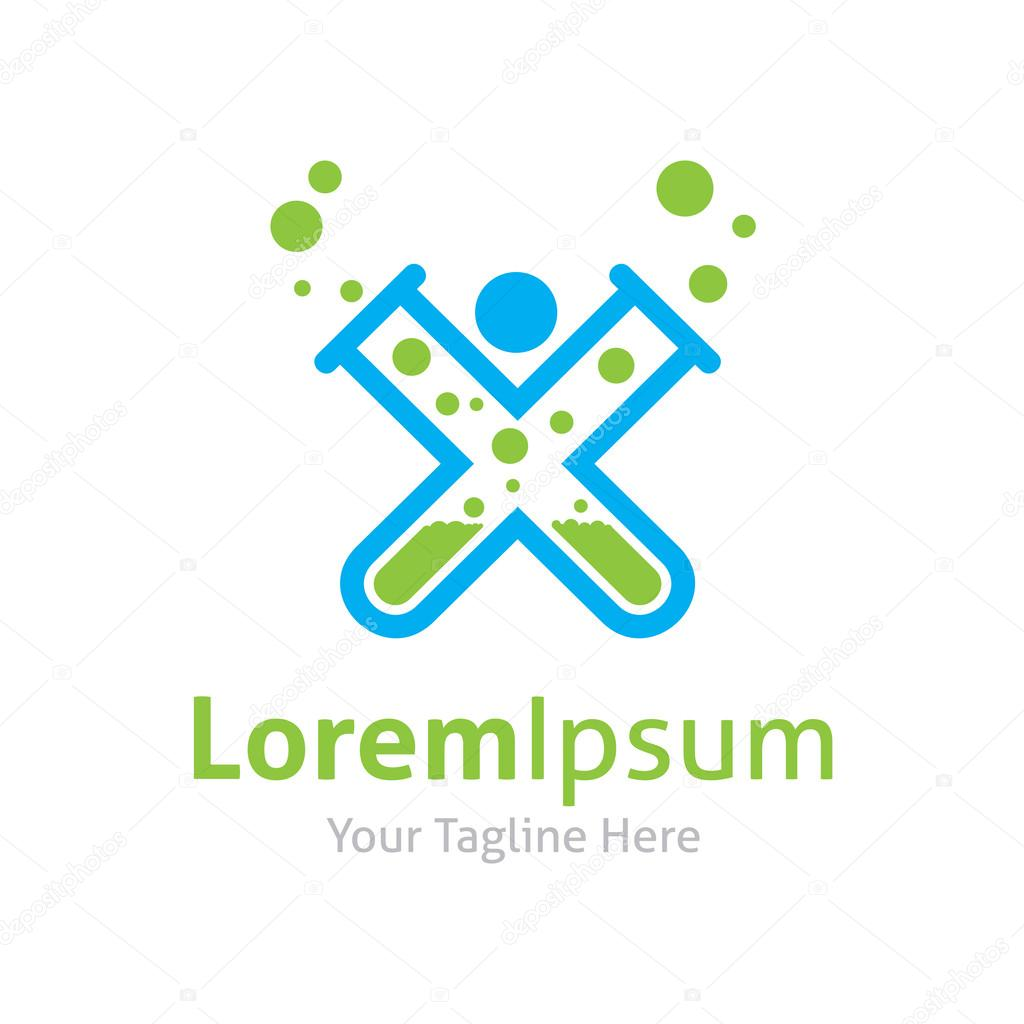 Science man lab glass test tube vector logo icon