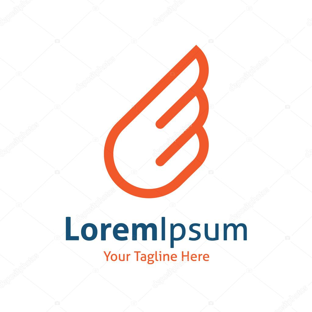 Orange simple wing logotype vector logo icon