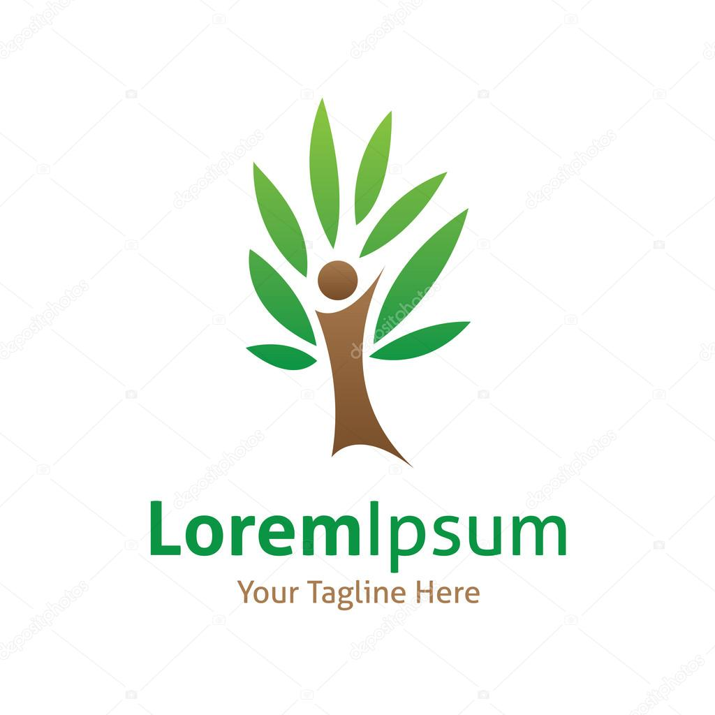 I tree green protection forest vector logo icon