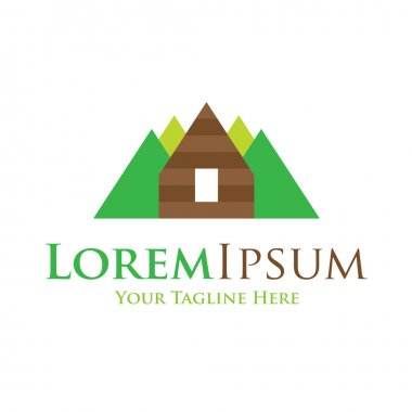 Mountain high home icon simple elements wilderness logo