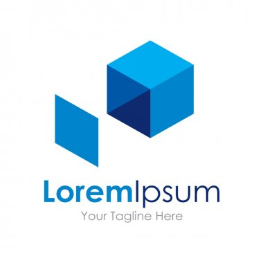 Extend your idea blue box icon simple elements logo