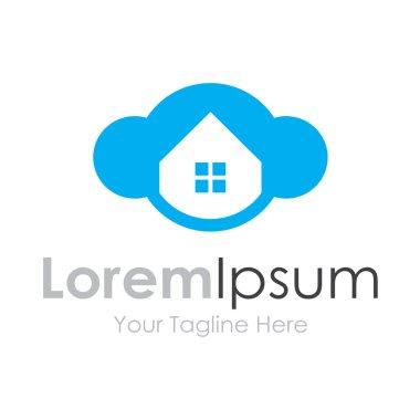 Cloud house blue window bussiness element icon logo