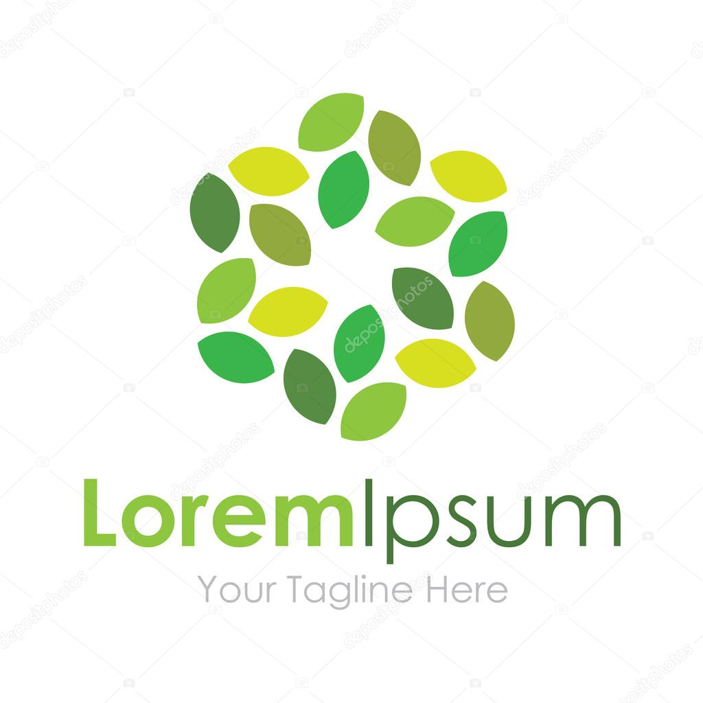 Paved green leaves flower eco element icons business logo