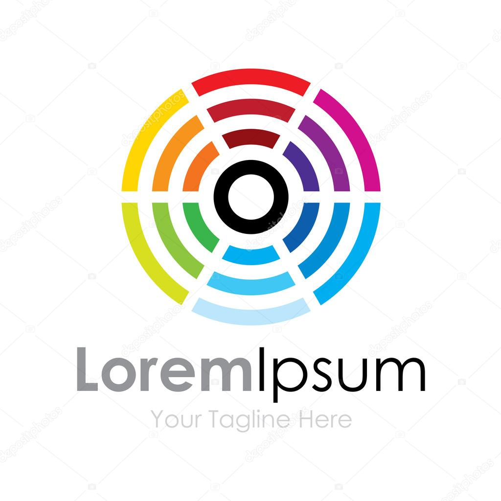 Center rainbow color circles element icons business logo