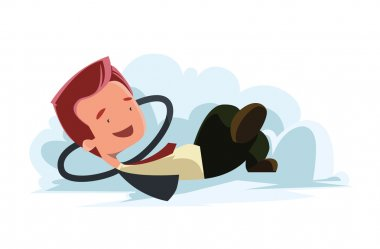 Man in clouds dreaming vector illustration cartoon character