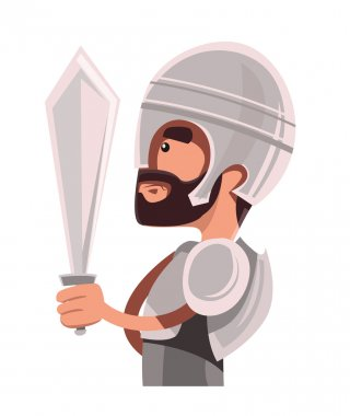 Ancient warrior in full armour vector illustration cartoon character