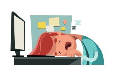 Sleeping at office on computer vector illustration cartoon character