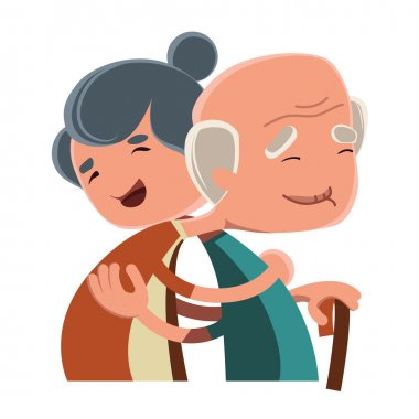 Old couple hugging vector illustration cartoon character