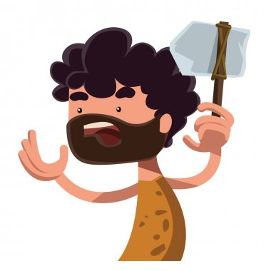 Stone age man holding ancient tool vector illustration cartoon character