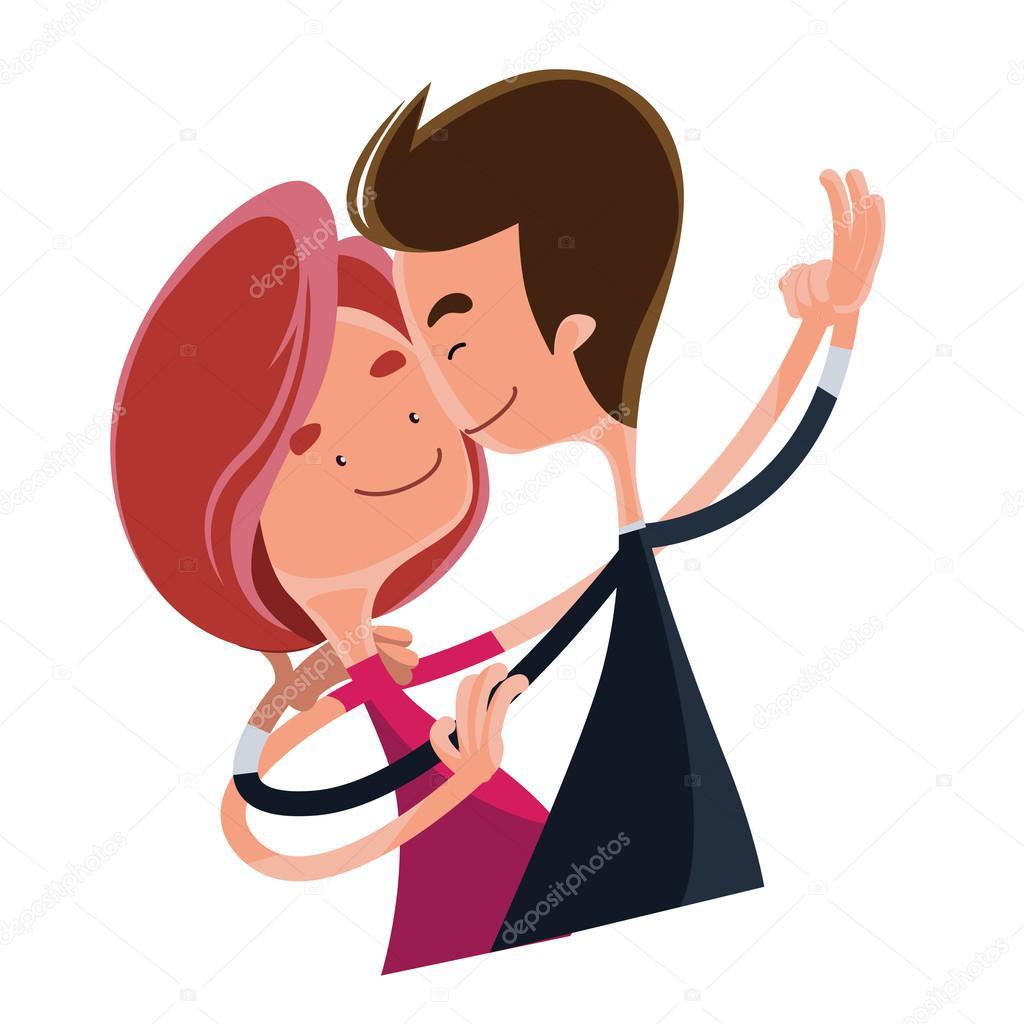 casal apaixonado dançando o personagem de desenho animado de