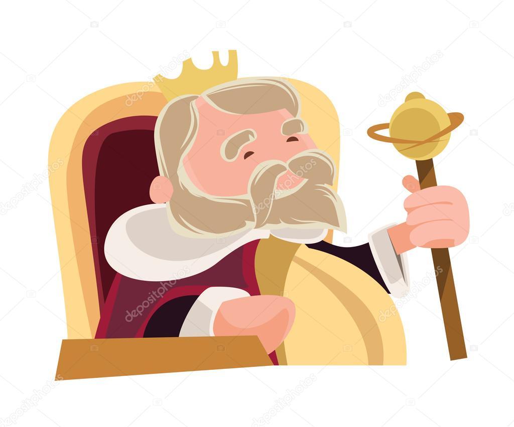 老明智的国王坐在皇家矢量图卡通人物