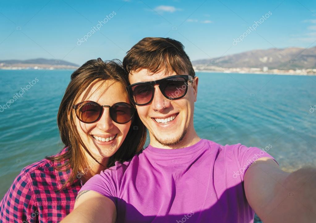 Couple in love taking self-portrait