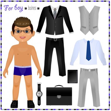 Paper doll with set of clothes