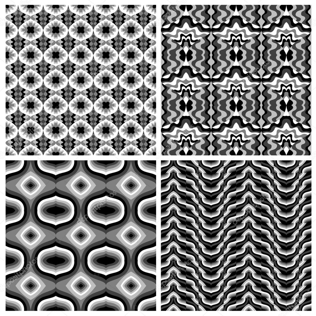 Abstract Geometric Seamless Pattern. Set Of Black And White Patterns U2014  Vector By Dgem22