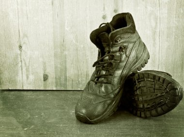 Old shoes.  Aged photo.