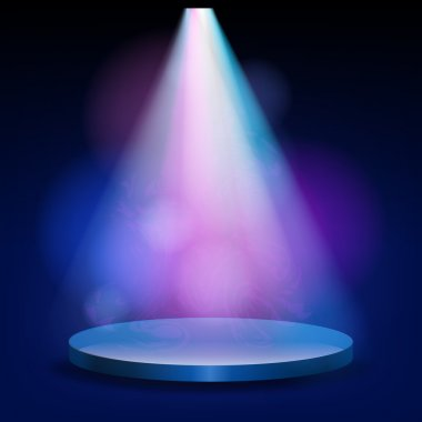 Empty stage lit with lights on blue background
