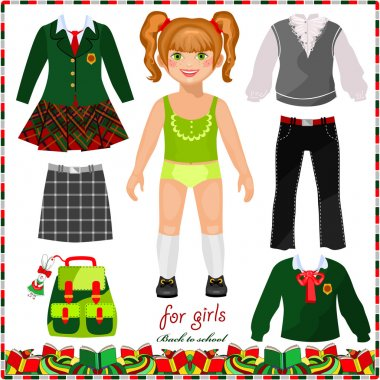 Paper doll with a set of clothes for school
