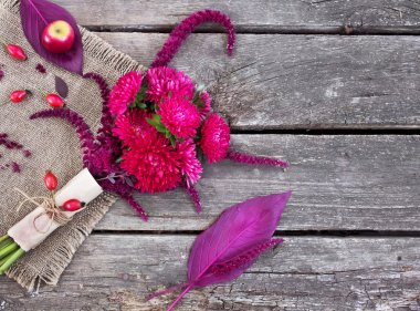 Asters, amaranth and rose hips