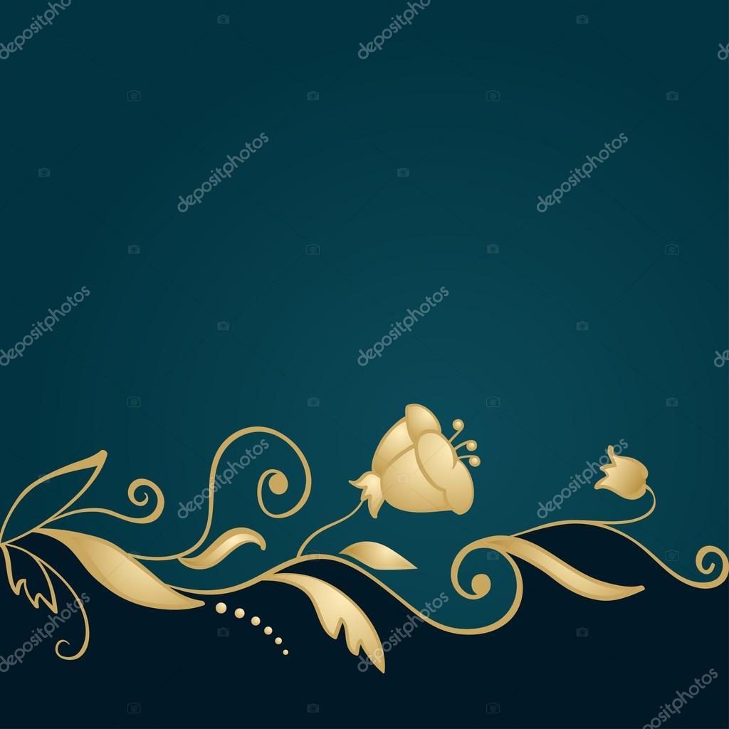 Goldene Blumen Verzierung auf grünem Hintergrund — Stockvektor ...