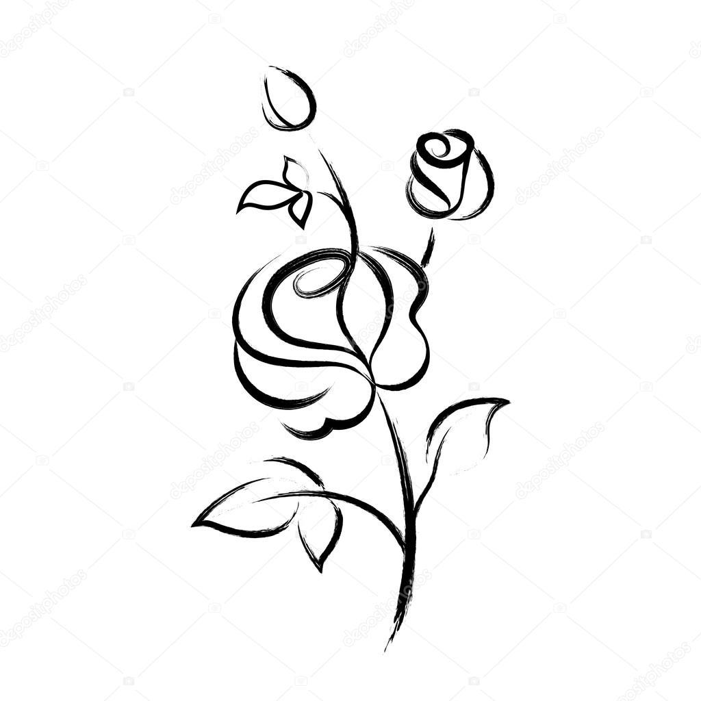 Disegnato A Mano Nero Rosa Isolato Su Sfondo Bianco Vettoriali
