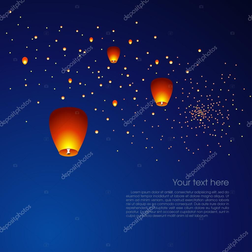 Chinese Sky Lanterns In A Dark Night Background Vector Image By C Yulia Lavrova Vector Stock 86718130