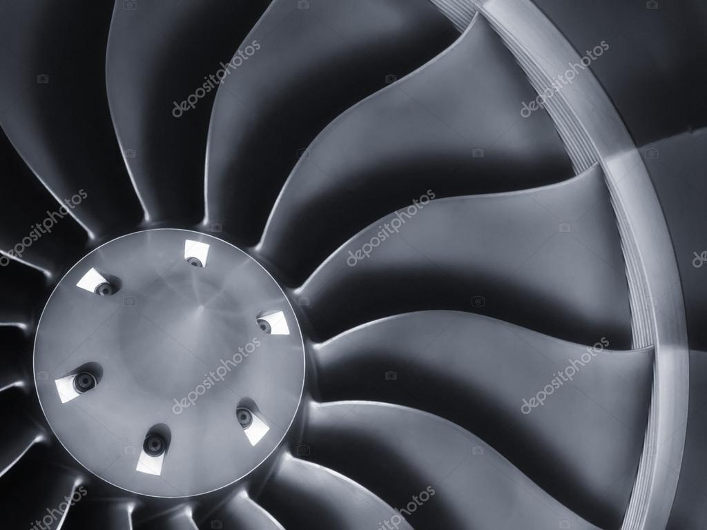 This close up image of a business aircraft jet engine inlet fan makes a great business travel or aerospace background